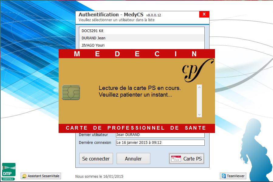 Authentification à l'aide de la Carte du Professionnel de Santé (CPS)