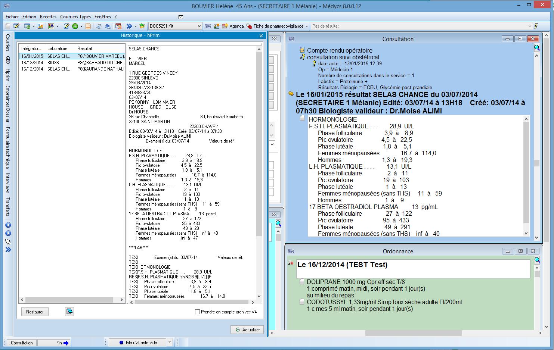 Affichage des résultats hPrim dans le dossier patient